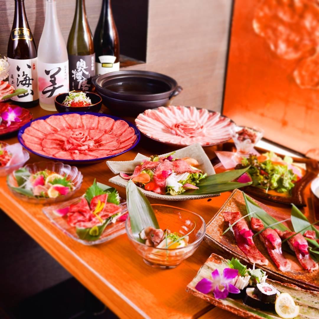 当店のおすすめメニュー勢揃い牛タン・肉の握り寿司・ローストビーフ・豚しゃぶなど