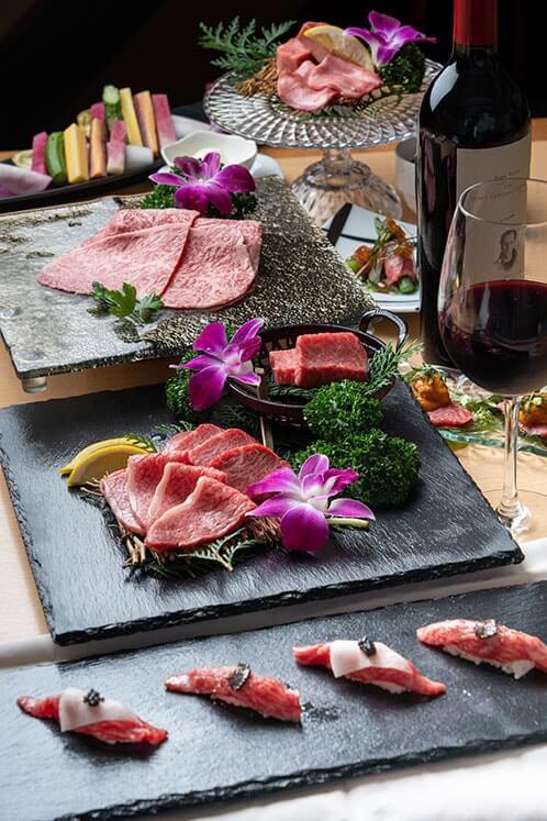京丹波の幻のブランド牛「平井牛」の肉懐石コース(グラス銘醸ワイン付)¥9,980(税・サ別)