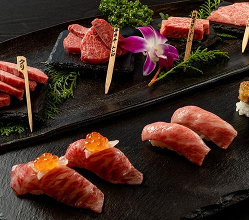 ≪忘新年会デラックスコース≫ 京丹波の平井牛と極上肉の寿司を楽しむ!