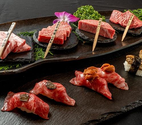 ≪忘新年会エクストラコース>> 極上平井牛と特選肉の寿司、幻の黒毛和牛タンを楽しむ≫
