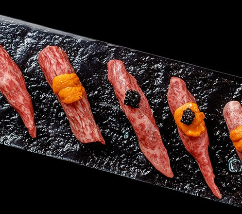 黒毛和牛極上赤身肉の炙り焼握り寿司
