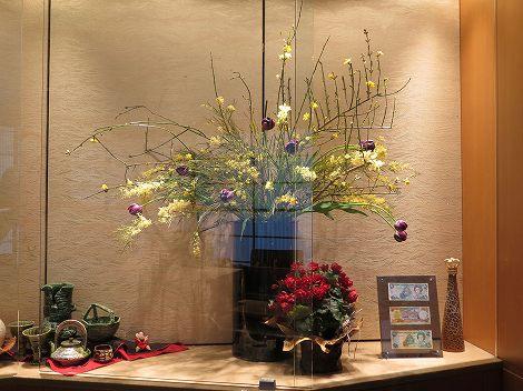 右に迎春花、ミモザアカシア、チューリップ(夜の帝王)
