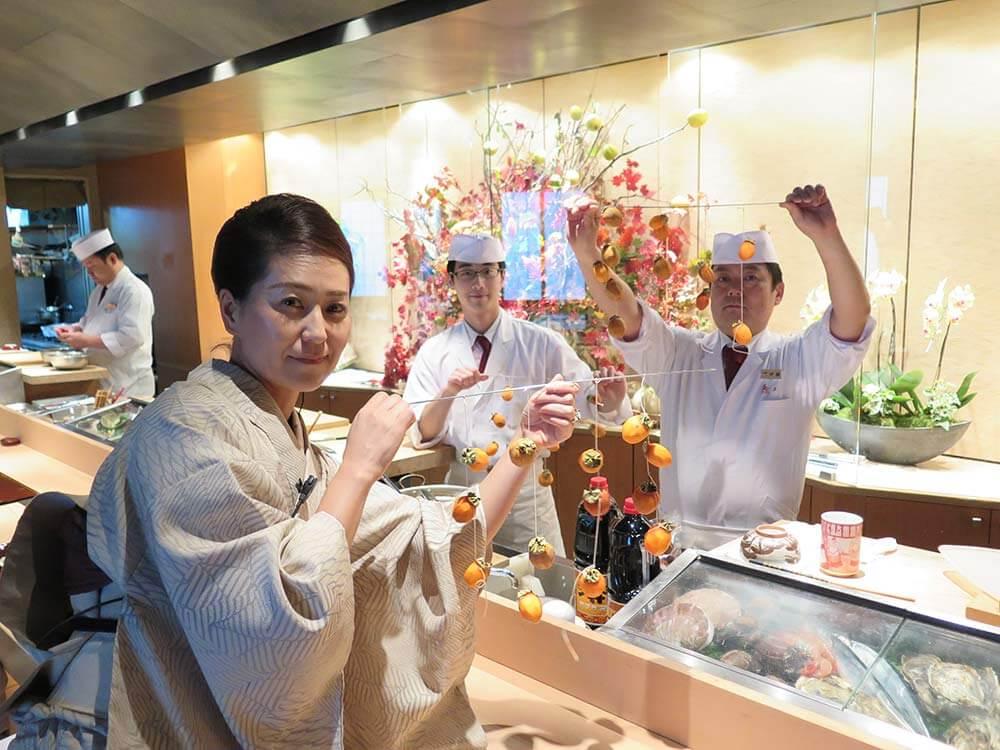 干し柿、中井女将、伊藤さん、新村さん