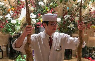 南知多で採れた天然自然薯と新村さん(板前)