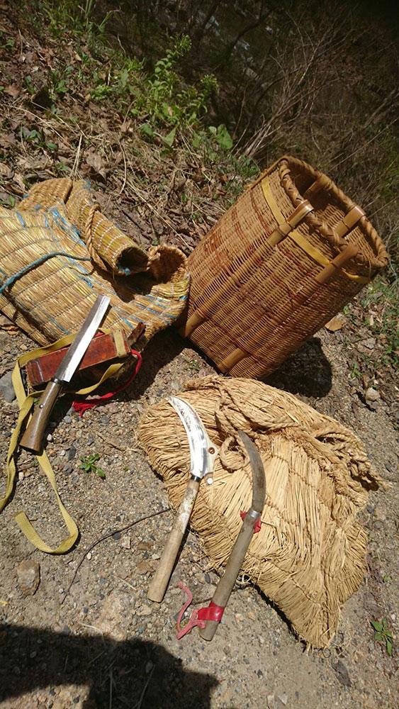 山菜狩りの道具